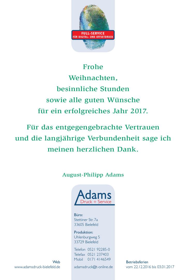 Adams Weihnachtskarte 2016