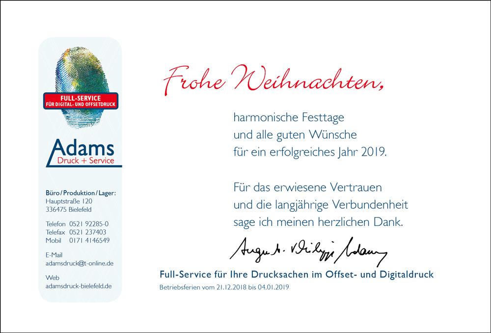 Adams Druck+Service Weihnachtsgruß 2018